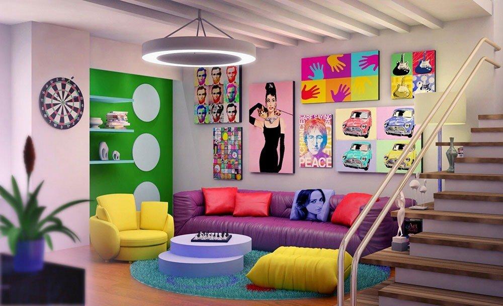 Современная гостиная в стиле поп-арт фото 1