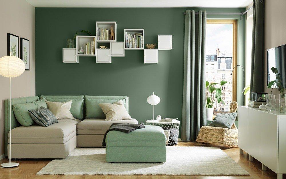 Сочетания зеленого цвета в интерьере гостиной фото 2