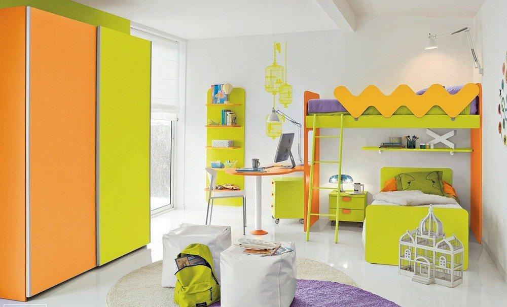 Сочетания зеленого и оранжевого цвета в интерьере фото 1