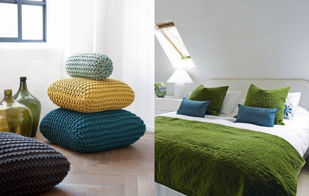 Декоративные подушки в интерьере из разных материалов