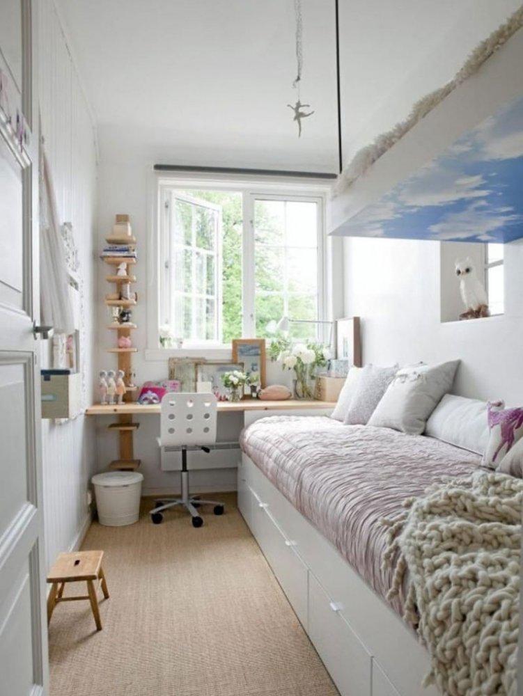 Дизайн узкой комнаты фото 18