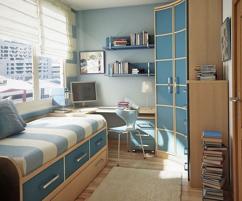 Дизайн узкой комнаты фото 19