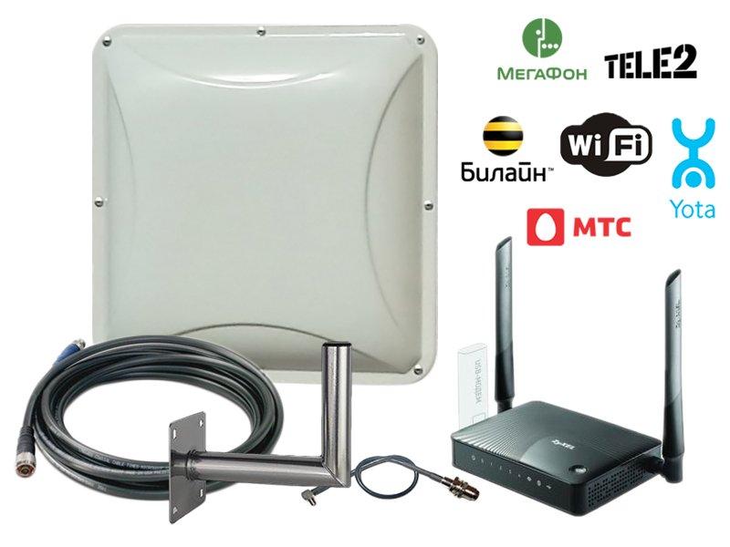 комплект усилителя интернет сигнала на дачу