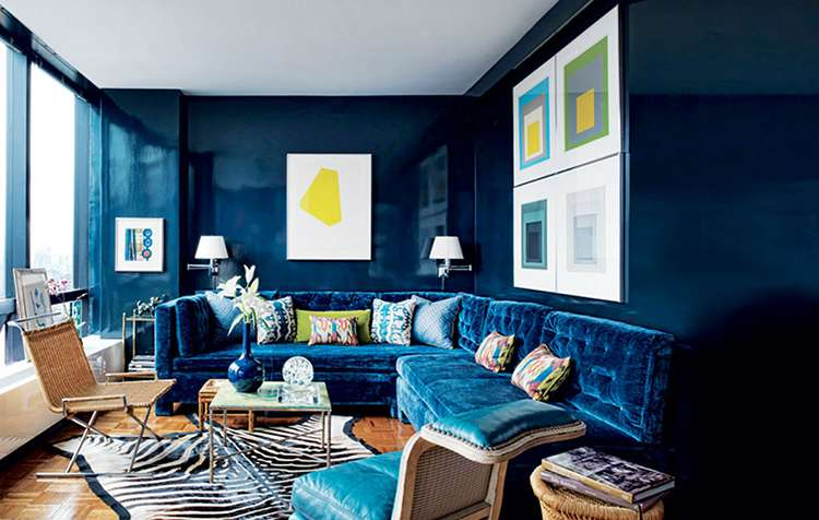 синий цвет в интерьере фото 3 глубокий синий