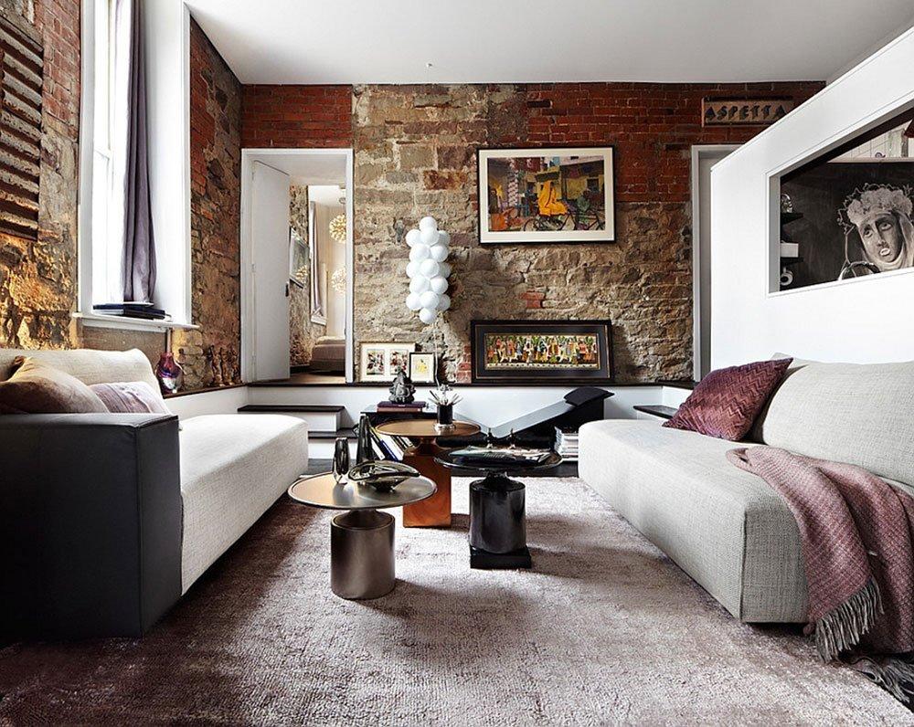 Современная гостиная в стиле лофт фото 2