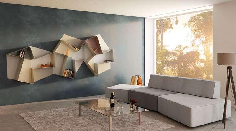 настенные полки в гостиной в тон мебели