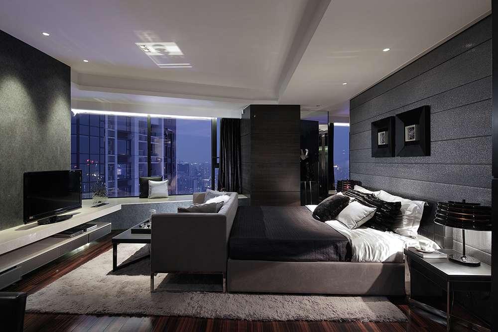 Спальня в серых тонах в стиле хай-тек