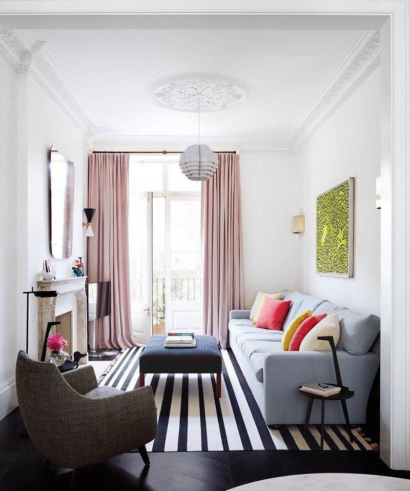Дизайн узкой комнаты фото 15