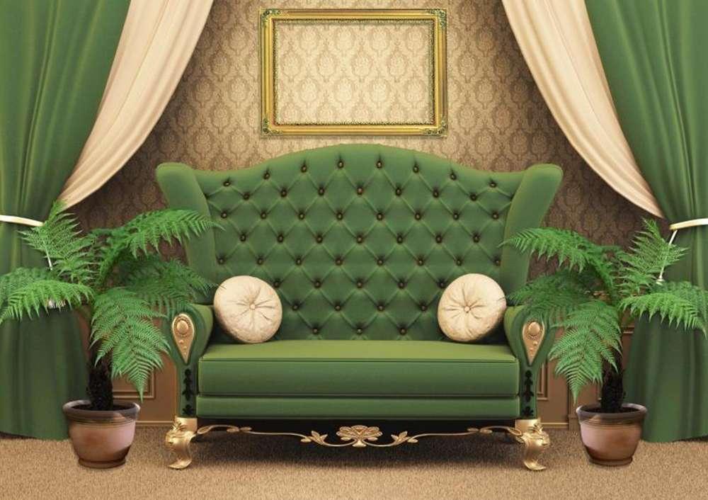 Зеленый диван  в классическом стиле