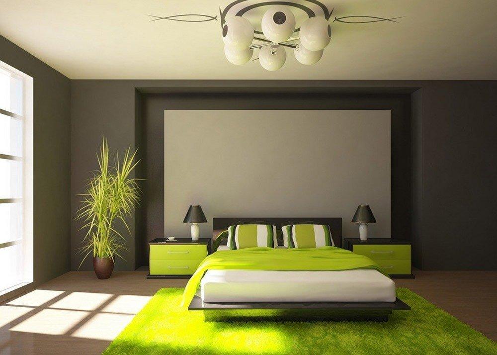 Сочетания зеленого цвета в интерьере спальни фото 4