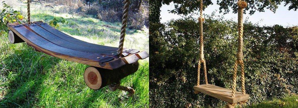 Качели для дачи на веревках из досок