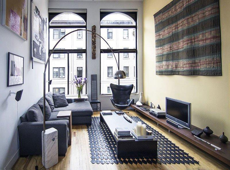 Дизайн узкой комнаты фото 16