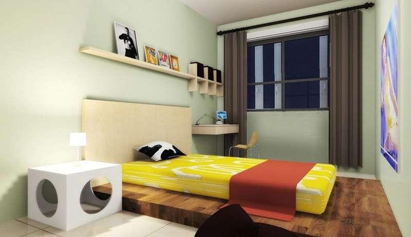 Настенные полки для спальни в изголовье кровати