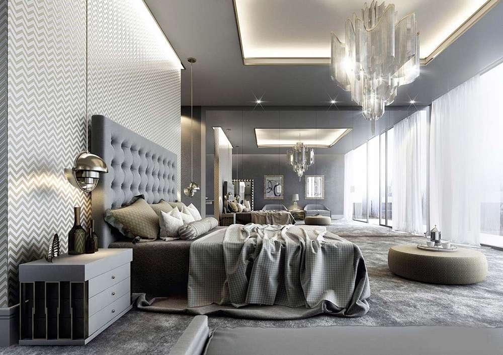 Серый цвет в интерьере спальни в неоклассическом стиле
