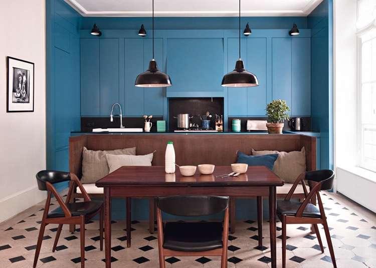 синий цвет в интерьере фото 12 кухня