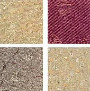 Ткань ламелей бывает разной по плотности, цвету, фактуре. На фото: образцы тканей с жаккардовым переплетением