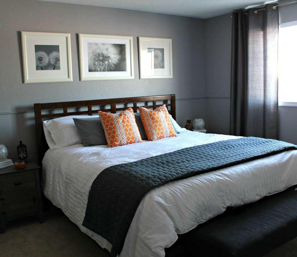 Спальня в серых тонах в современном стиле