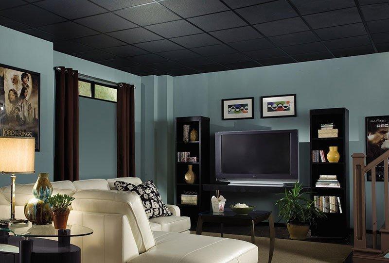 Черный потолок в интерьере гостиной в приглушенных тонах
