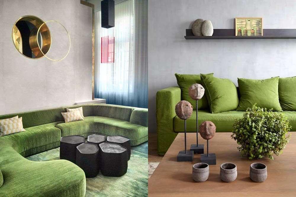 Зеленый диван в красивом и необычном интерьере
