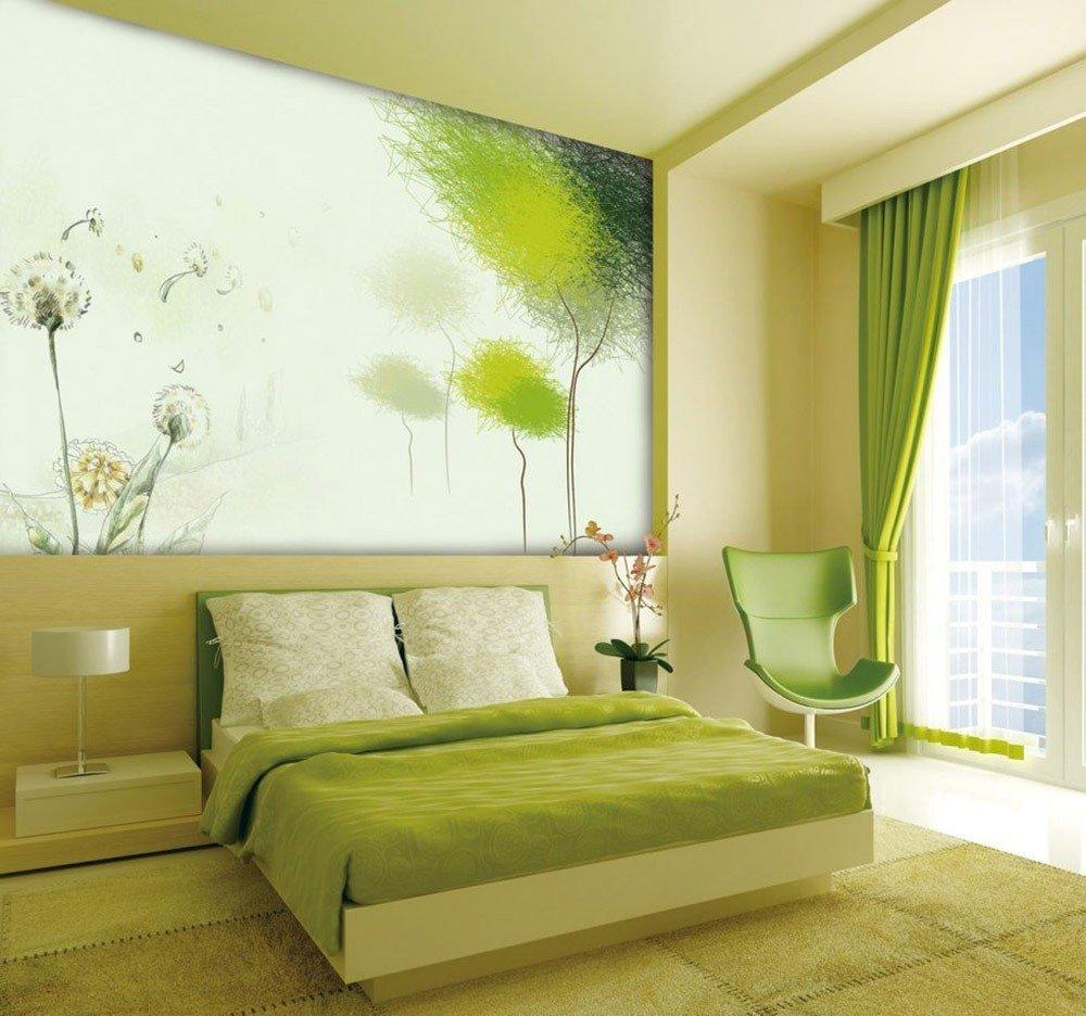 Сочетания зеленого цвета в интерьере спальни фото 1