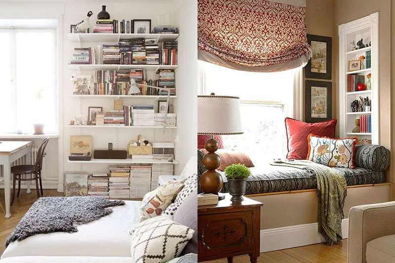 Варианты настенных полок в интерьере спальни