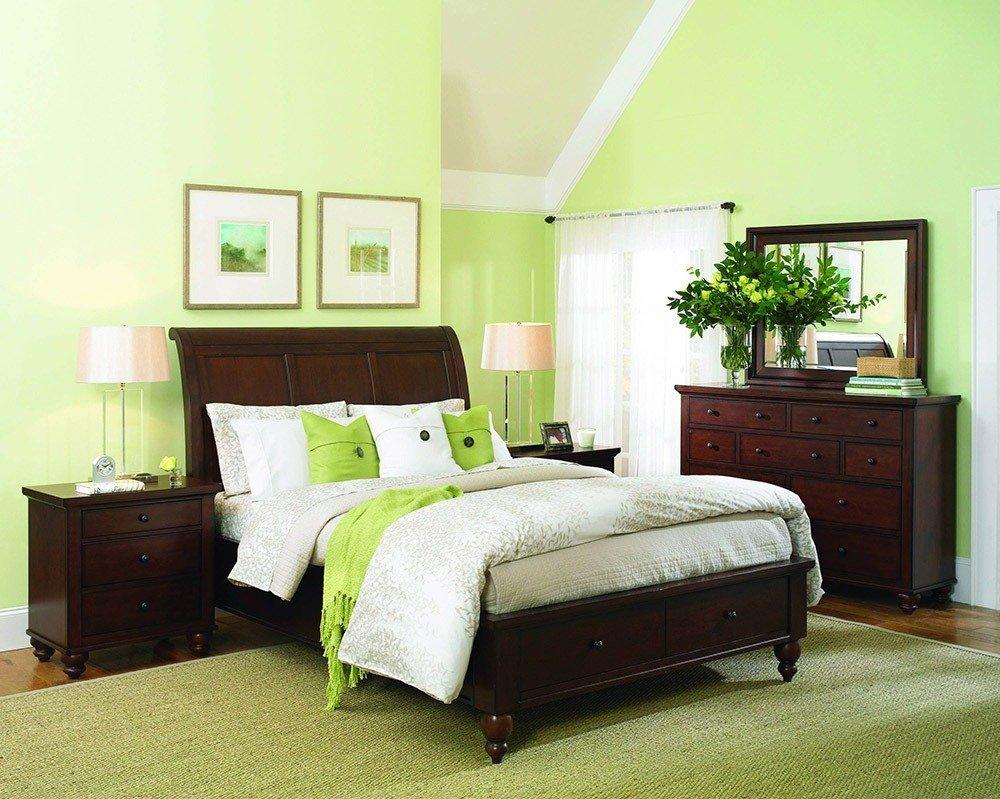 Сочетания зеленого цвета в интерьере спальни фото 8