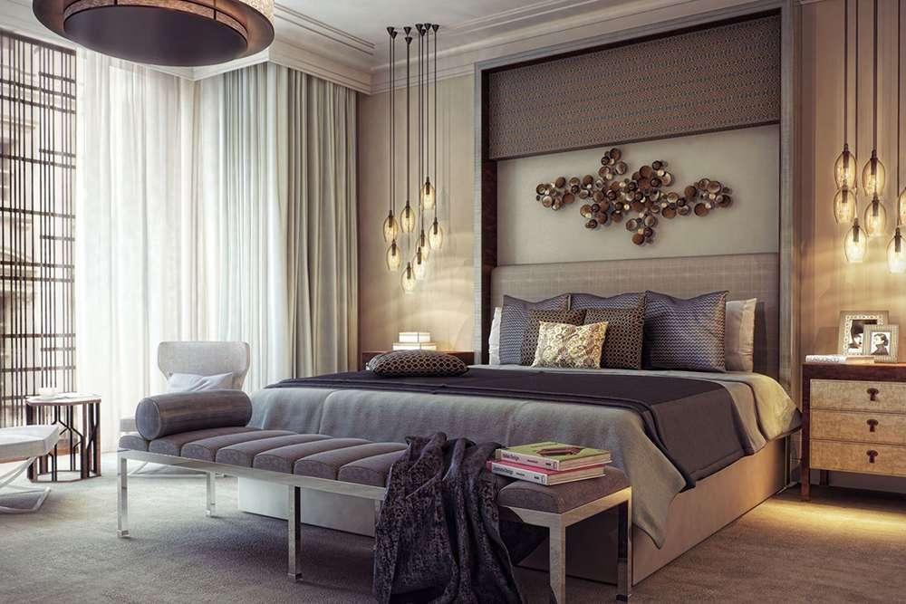Необычные детали декора стен - приветствуются в современном стиле оформления интерьера спальни