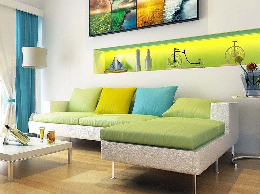 Сочетания зеленого  и белого цвета в интерьере фото 1
