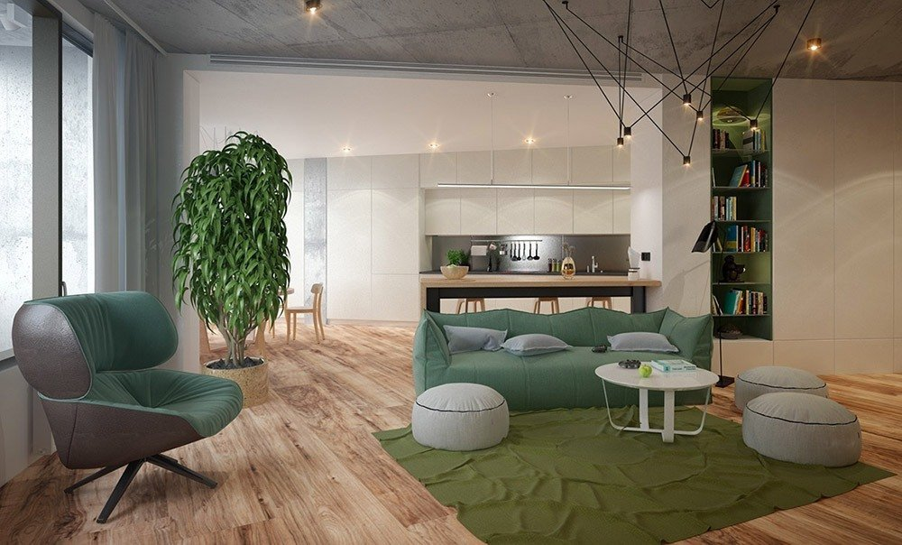 Сочетания зеленого цвета в интерьере гостиной фото 3