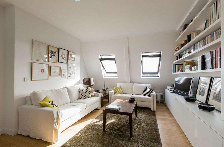 Белые стены и потолок - отличительная черта скандинавского стиля в интерьере