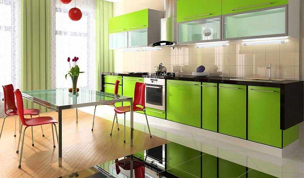 Сочетания зеленого цвета в интерьере кухни фото 4