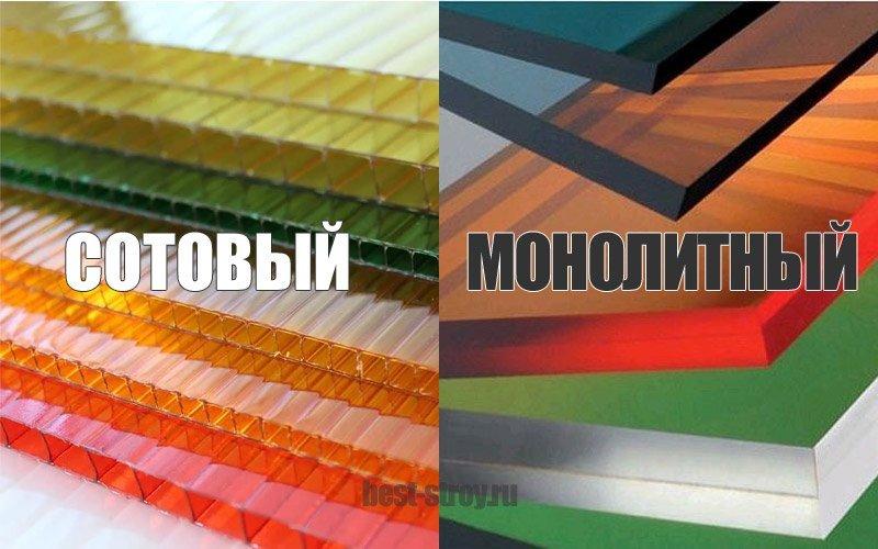 Два вида поликарбоната: сотовый и монолитный.