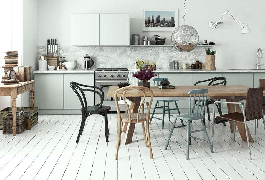 Современный вариант интерьера кухни в скандинавском стиле