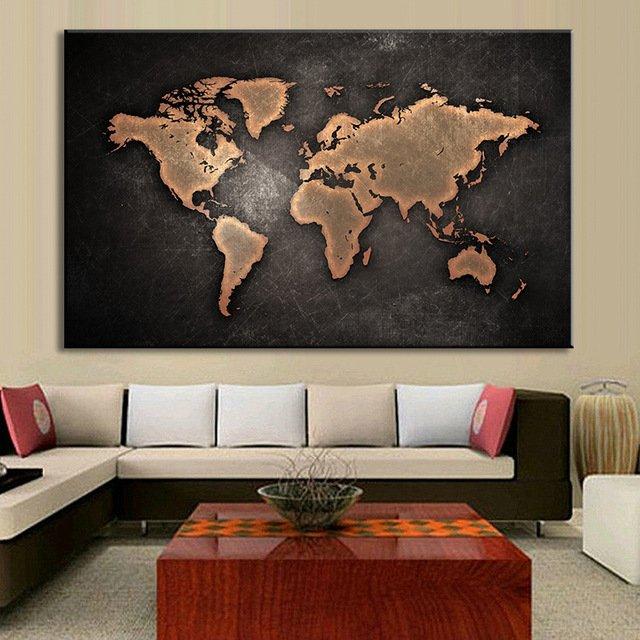 Огромная стильная картина с картой мираDVQ DECOR