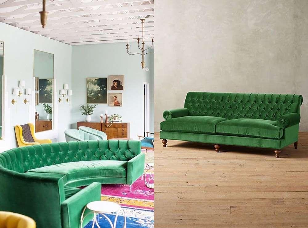 Зеленые диваны разных оттенков