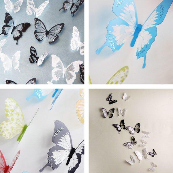 Наклейка Бабочка на стену (18 шт, 4 цвета)