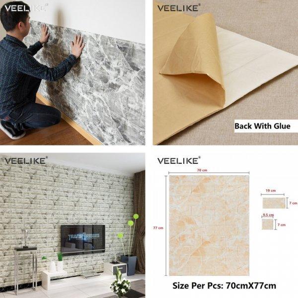 Панели для стен с имитацией кирпичной кладки от VEELIKE (70*77 см, 16 видов)