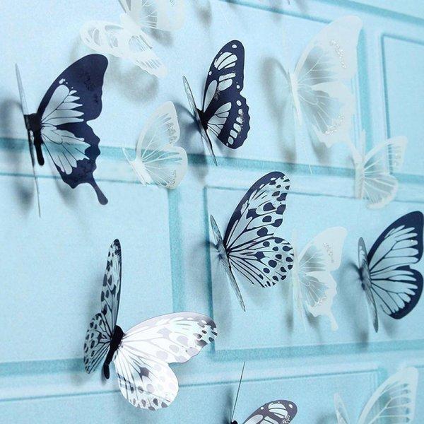 Набор декоративных стикеров на стену Бабочки (12 шт)