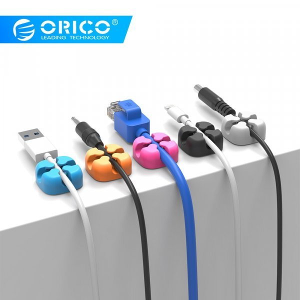 Яркий клип для проводов ORICO (10 шт, 3 цвета, 23*23*10 мм)