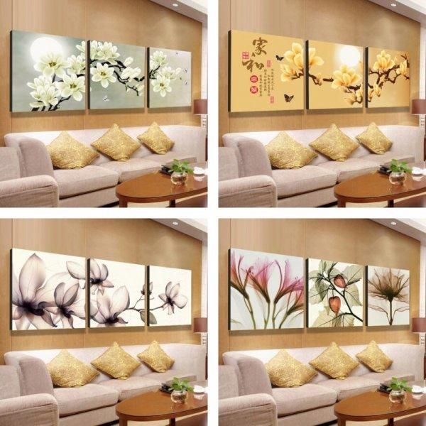 Цветочные картины из трёх частей