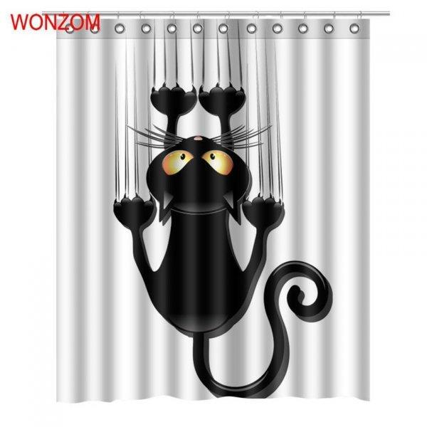 Душевая 3D штора для любителей кошек WONZOM (6 размеров)