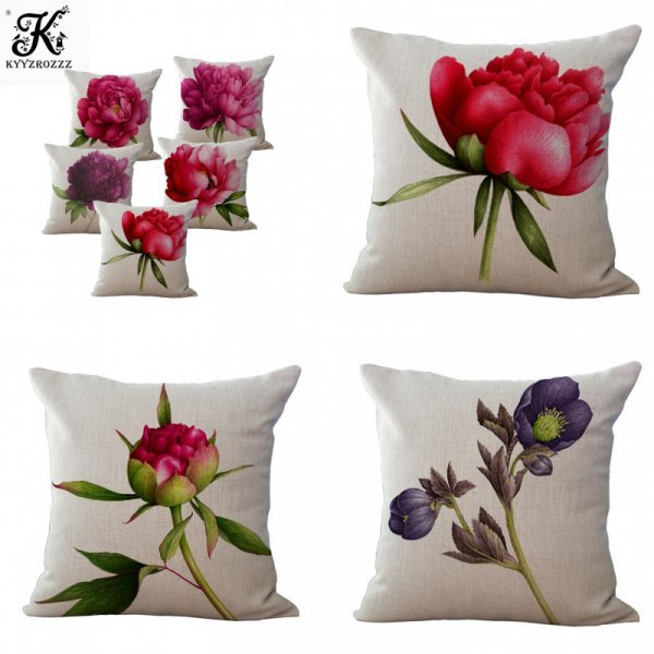 Элегантный чехол на подушку Цветы (12 принтов, 45*45 см)