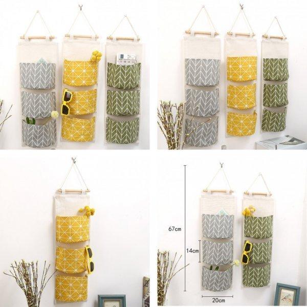 Яркие подвесные кармашки для прихожей, детской и спальни (3 секции, 67*20*14 см)