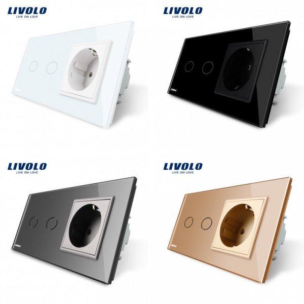Сенсорный выключатель с розеткой от LIVOLO (4 цвета)
