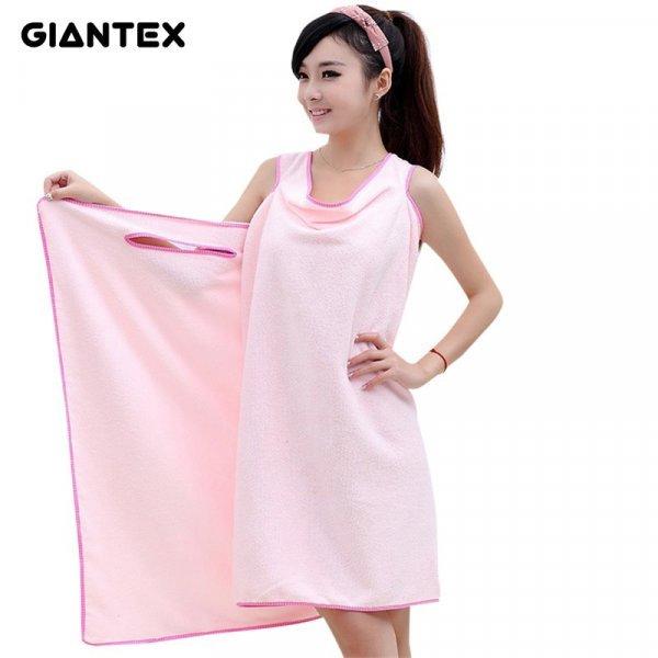 Женское полотенце-халатик из микрофибры от GIANTEX (6 цветов)