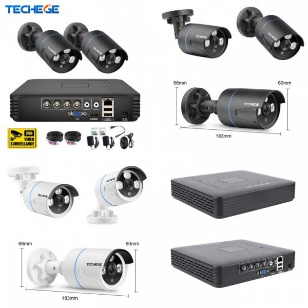 Система наблюдения с 2 камерами Techege (4CH 720p recording DVR recorder)