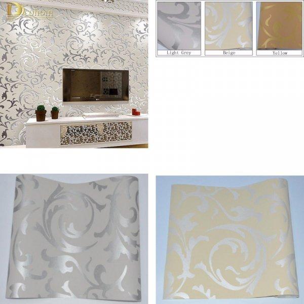 Изысканные обои с блеском для гостиной Dcohom (3 нежных цвета, 5.3 м.кв, влагоустойчивые.)