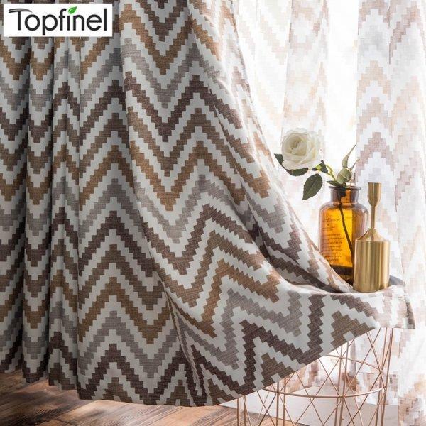 Гардины с геометрическим рисунком Topfinel (6 цветов, 9 размеров)