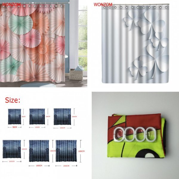 Реалистичная  3D штора для ванной WONZOM 3 цвета, 6 размеров)
