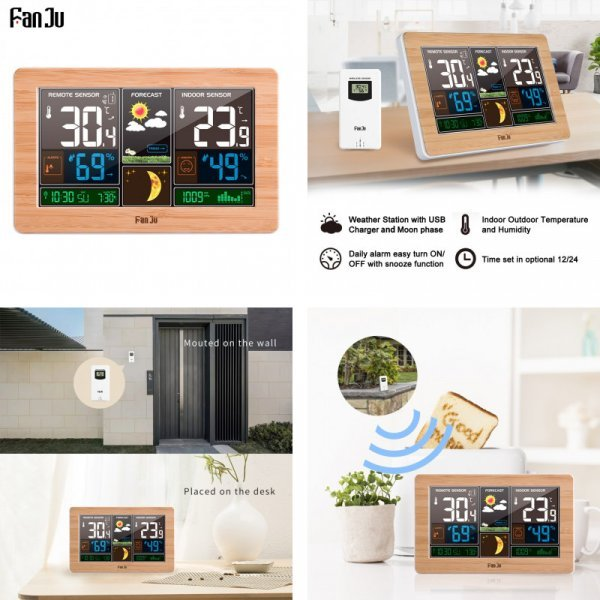 Умная метеостанция FanJu 3378 с будильником (2 цвета под дерево, USB -зарядка, 20*30 см)